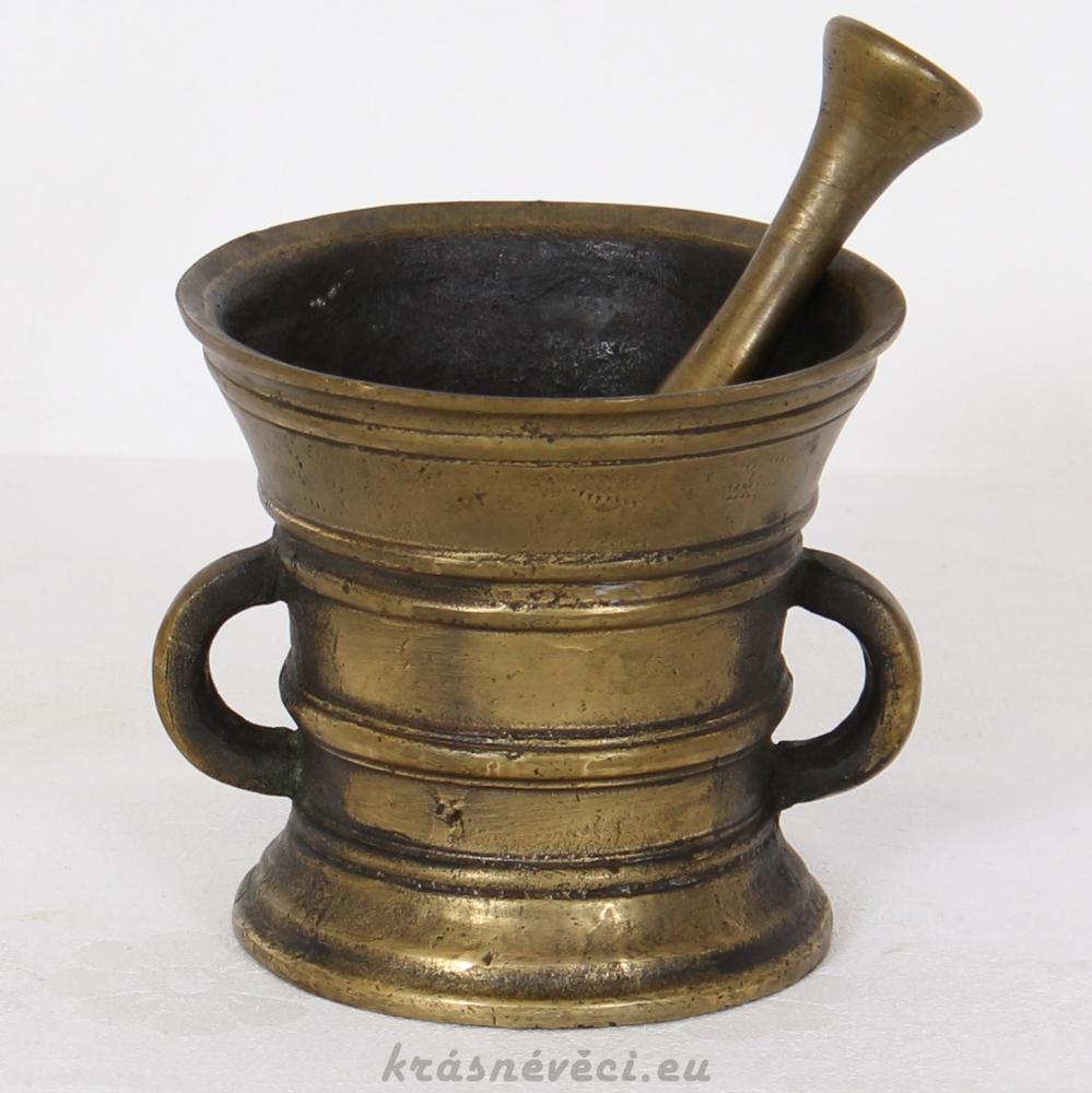 č.884 hmoždíř mosazný starožitný