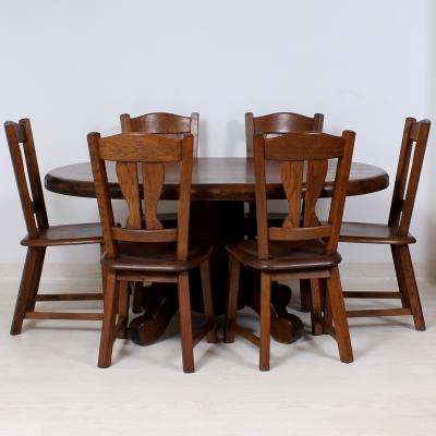 č.1653, kuchyňský SET MASIV DUB, stůl 160x119 cm + 6 ks židlí