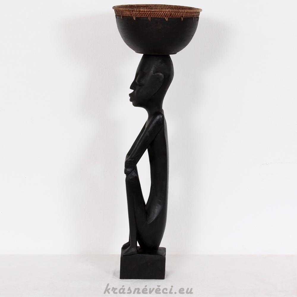 č.398 dřevěná soška s mísou