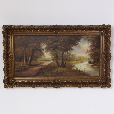 č.227 obraz krajina olej na plátně 99x58 cm